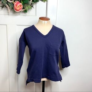 Madewell Navy zippered side pique boxy fit top